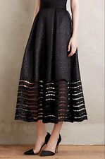 Sachin and Babi Anthropologie Lace Hem Ball Skirt Black Jacquard Dot Sz 2