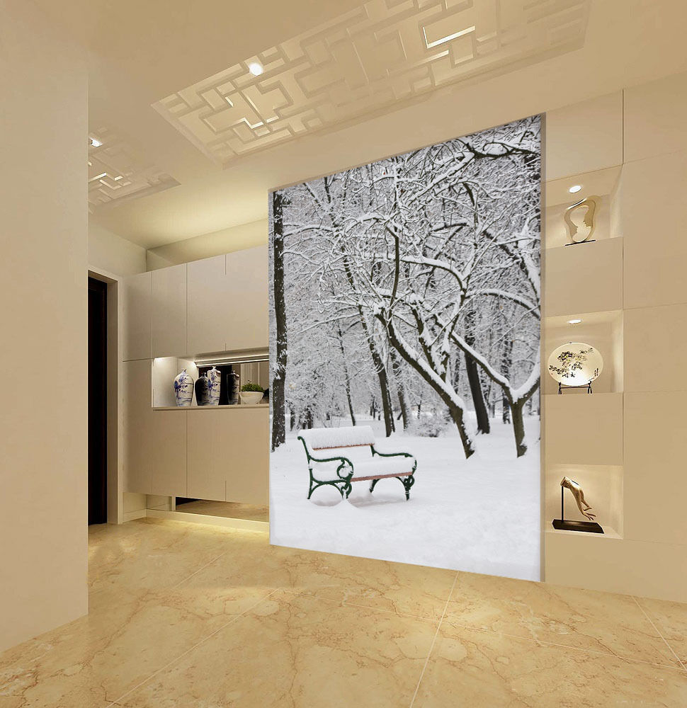 3D MIT schnee auf der Bank 08 Fototapeten Wandbild Fototapete BildTapete Familie