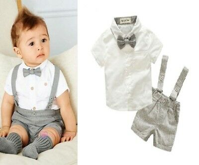 2c7dfae3a3 Baby Boys Summer Party Wedding Smart Formal Outfit Tuxedo Romper Set ...
