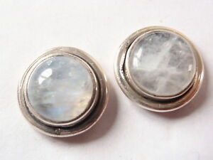 Round Moonstone in Circle Dangle Earrings 925 Sterling Silver Corona Sun Jewelry