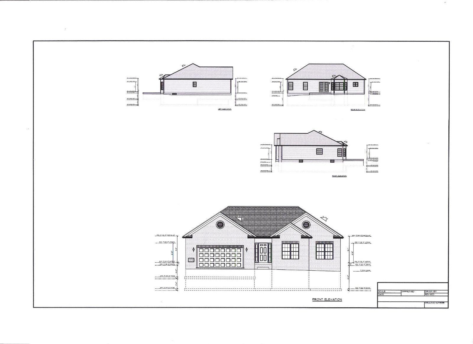 Full Set Of Single Story 3 Bedroom House Plans 1 776 Sq Ft For Sale Online Ebay,Home Design Credit Card