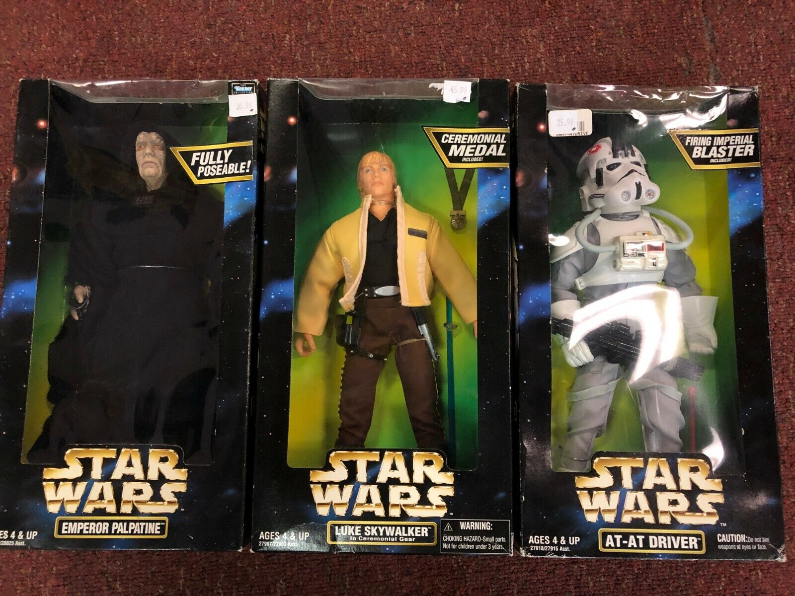 Lot of 3 Kenner Star Wars Action Collection emperor, driver , Emperor 12  New