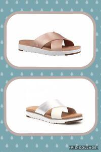 e59148920e3 Details about NIB UGG Australia Kari Metallic Rose Gold White Silver  Sandals Women's Sz 6 7 10