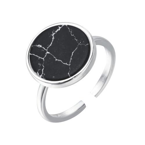 Black Round Stone Finger Rings 925 Silver Rings Women Men Gift Wedding Jewelry