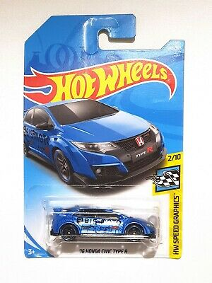 1:64 Hot Wheels White 2018 Honda Civic Type R Toy Cars Nightburnerz Kids Toy Car