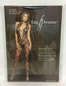 d3955f33e8e Image is loading Leg-Avenue-Butterfly-Lace-Criss-Cross-Front-Bodystocking-