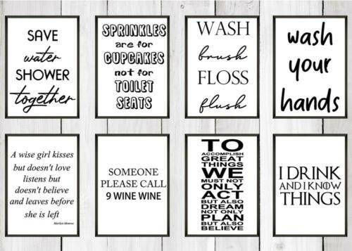 PLEASE FLUSH Funny Bathroom Print Contemporary Wall Art Poster Toilet Home
