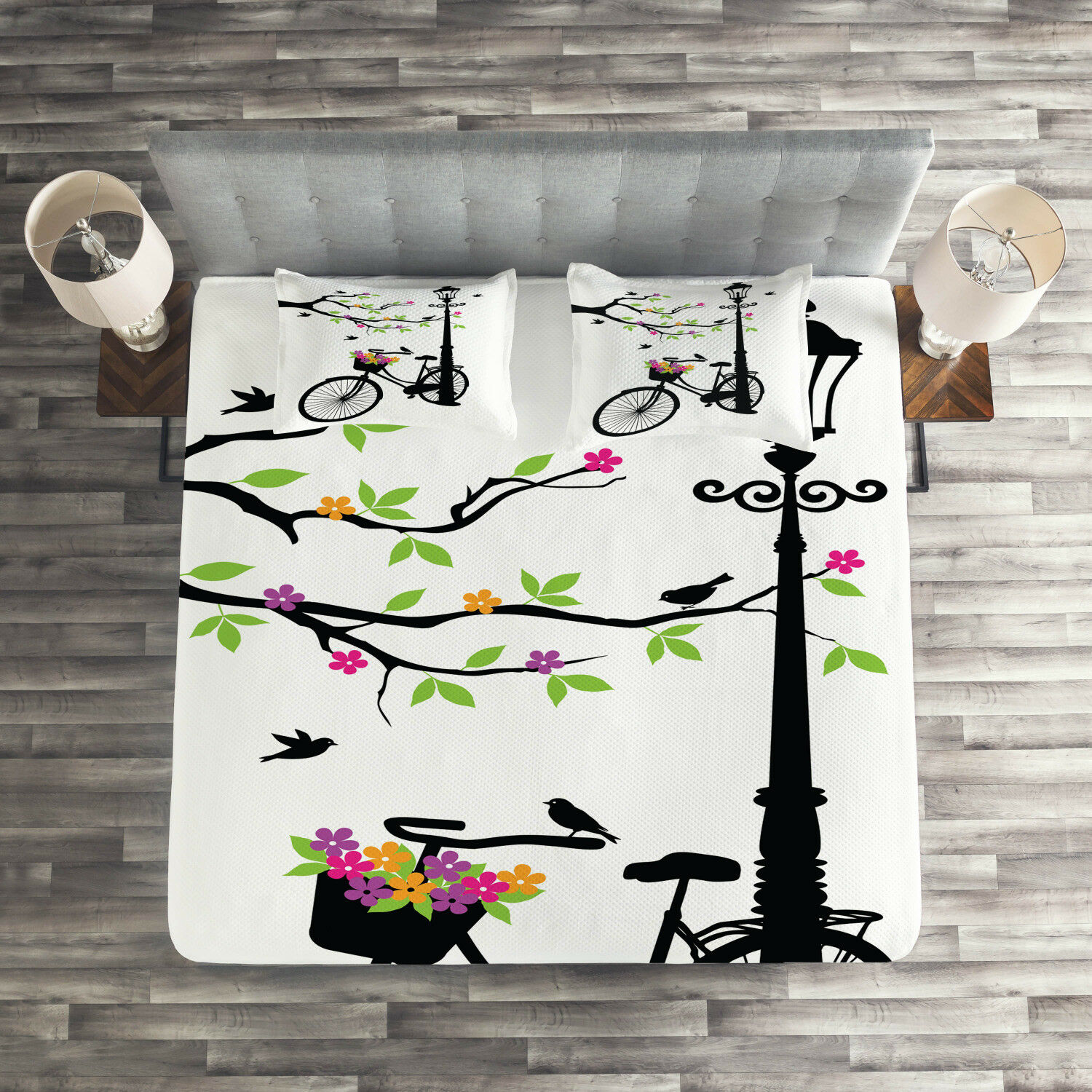 Nature Quilted Coverlet & Pillow Shams Set, Spring Tree Birds Bike Print