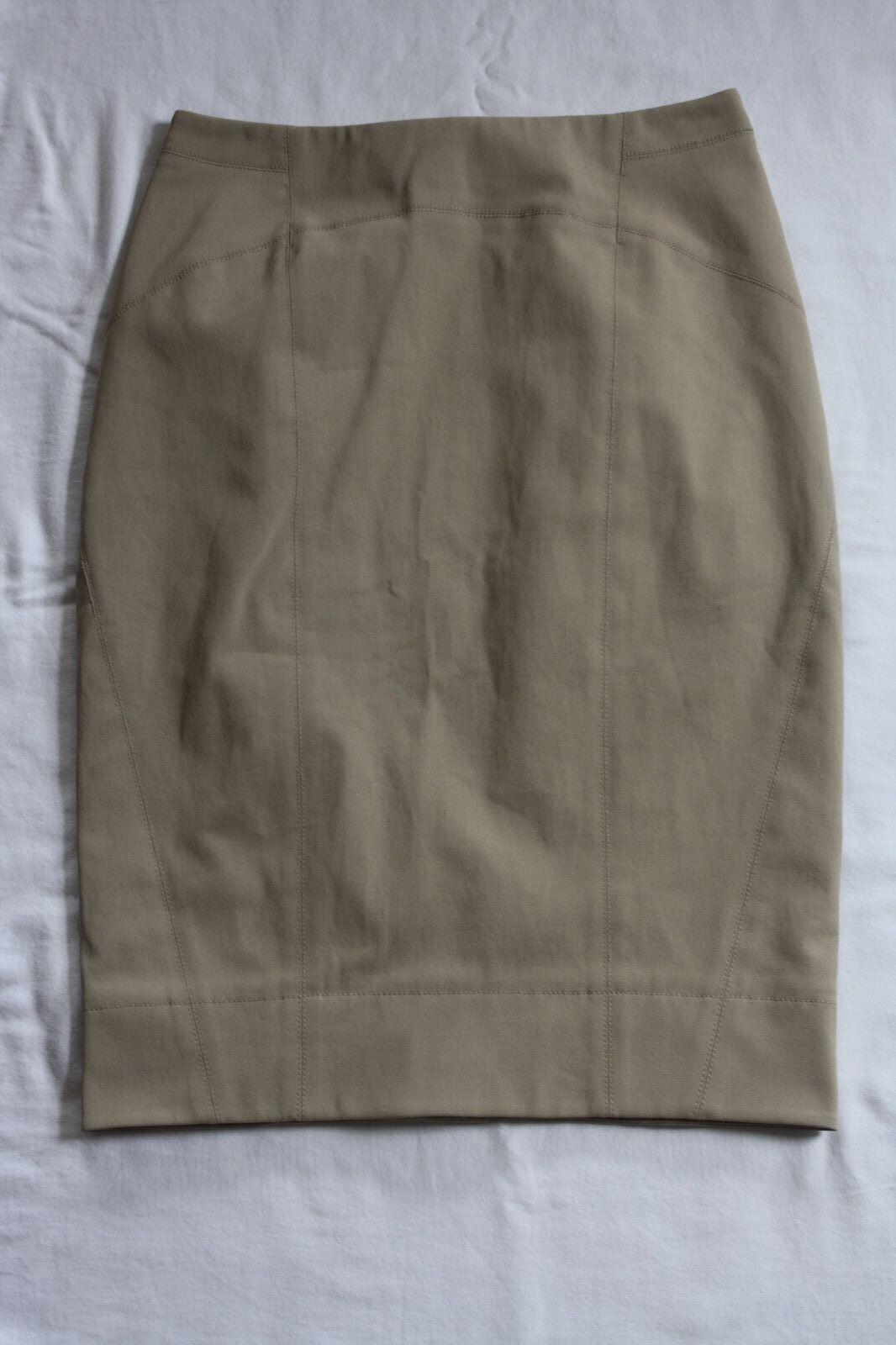 KaufmanFranco Beige Long Pencil Skirt Sz 40   4 Paneling Seam Details Zipper