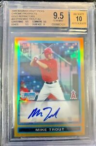 2009-Bowman-Chrome-GOLD-Refractor-Mike-Trout-Angels-RC-AUTO-50-BGS-9-5-w-10