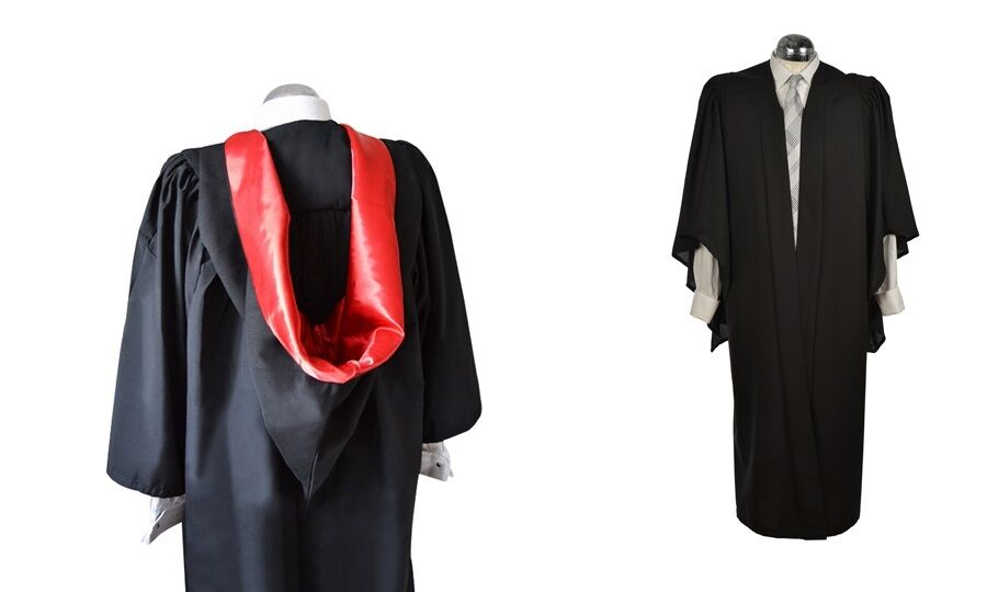 Fluted Bachelor BA Graduation Gown And Burgon Hood Set University Academic Robe