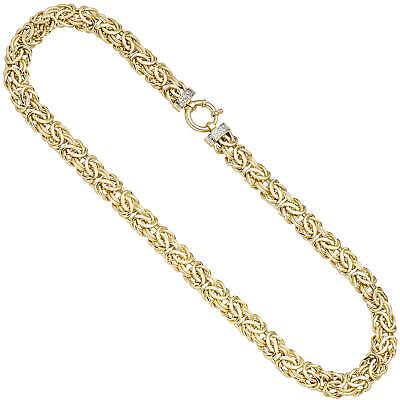 10,6mm Königskette Kette mit 14 Diamanten Brillanten, 585 Gold Gelbgold, 46cm