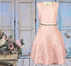 Details About Dkny 2t Pink Lace Dress Rhinestone Band At Waist Party Formal Holiday