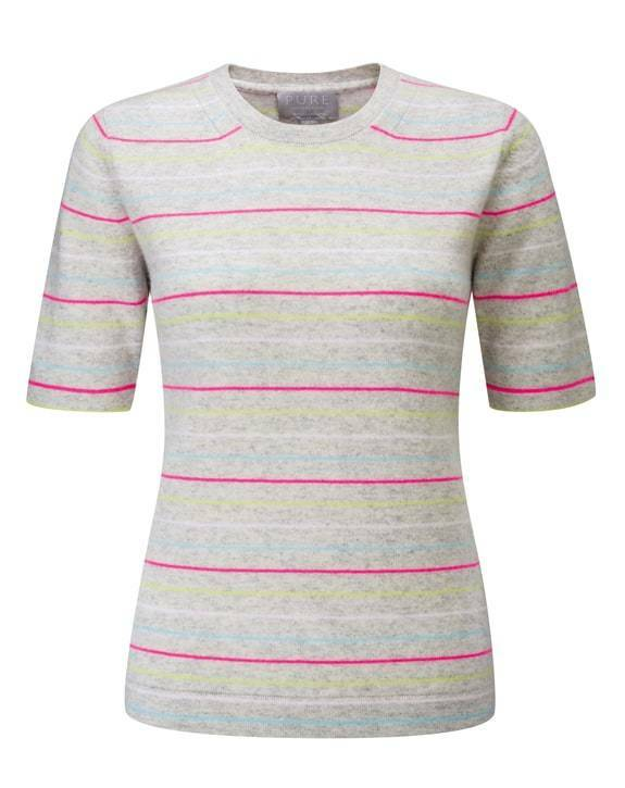 BNWT Pure Collection Cashmere T-Shirt - Multi Stripe - UK Größe 16 RRP