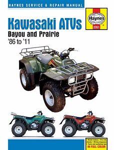 haynes service manual kawasaki prairie kvf300 2x4 4x4 1999 2003 rh ebay com au 2002 kawasaki prairie 300 service manual 2002 kawasaki prairie 400 service manual