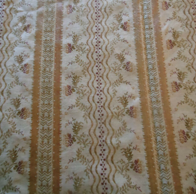 Antique 19thc Lisere Brocade Fabric~Soft Blush Peach Pink Lavender Olive Cream