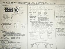 1969 CHEVY NOVA CHEVELLE TURBO FIRE 307 C I 200 HP 2 BBL SUN TUNE UP SPECS SHEET