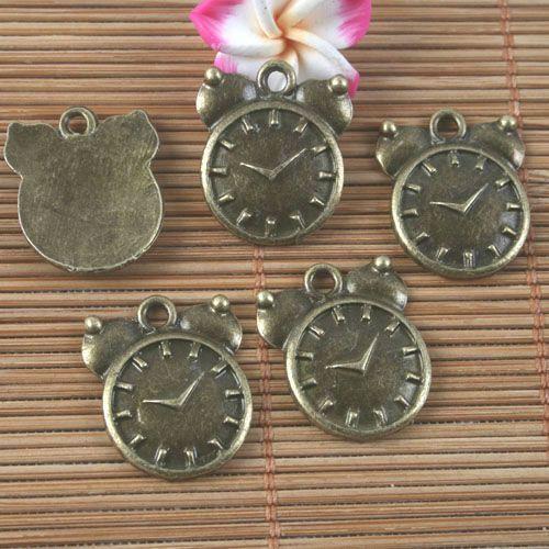 20pcs antiqued bronze alarm clock pendant G1595
