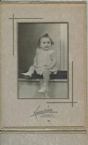 Antique Photo In Folder-Waukegan Illinois-Baby Girl With Curls-Korsmo Studio