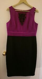 Size-14-Marks-And-Spencer-Autograph-Black-purple-Dress