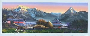 MT-ANNAPURNA-AND-GHANDRUK-VILLAGE-ORIGINAL-ACRYLIC-PAINTING-ON-CANVAS-11-034-x-30-034