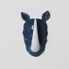 Hunter's Trophy Porcelain Rhino Rhinoceros Head Wall Jewelry Holder