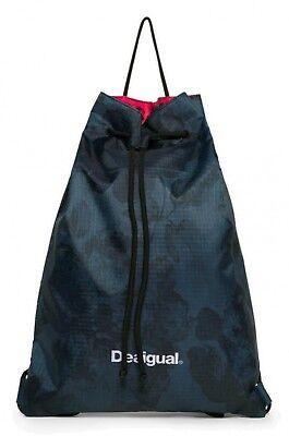 Desigual Bols Gym Sack Dark Denim Sporttasche Tasche Legion Blue Blau Schwarz