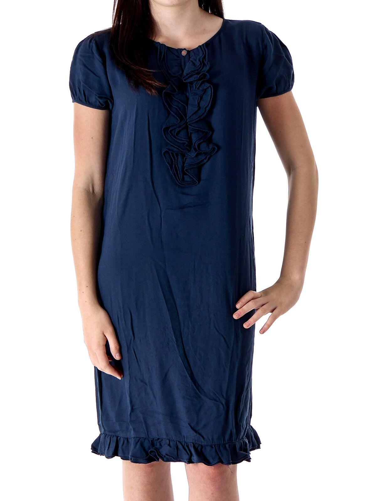 Manila Grace Kleid Shirtkleid Sommerkleid College blau Rüschen Viskose