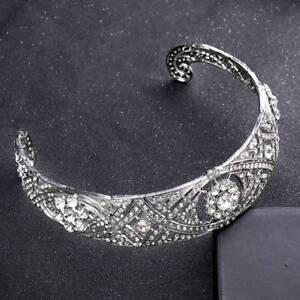 Silver-Crystal-Wedding-Tiara-Crown-Bridal-Headpiece-Bride-Headband-Hair-Jewelry