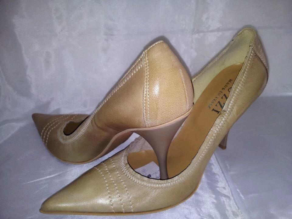 Scarpe donna Decolletè Beige Elastico Tacco Alto Woman Shoes MADE ITALY Schuhe
