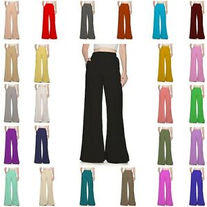 WFPP-Women-Ladies-Full-Pocket-Palazzo-Plain-Wide-Leg-Baggy-Trousers-Pants