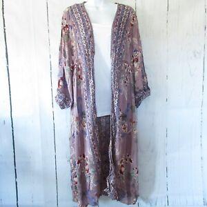 New Angie Duster Kimono M Purple Crochet Puff Sleeve Prairie Boho Peasant