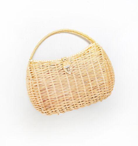 Vintage Basket Purse 1960s Gold Metal Woven Wicke… - image 1