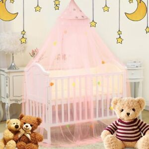 Bed-Canopy-Mosquito-Net-For-Kids-Baby-Crib-Princess-Round-Hang-Dome-Indoor-WW