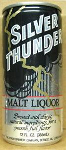SILVER-THUNDER-MALT-LIQUOR-12oz-Beer-CAN-Stroh-Detroit-MICHIGAN-7City-1984-1