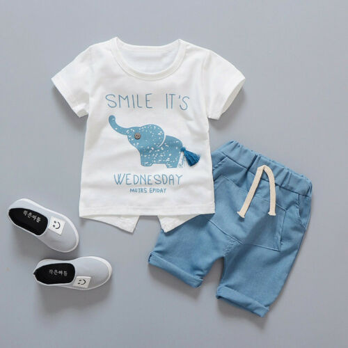 Toddler Kids Baby Girls Boys Cute Elephant  T-shirt+Shorts Outfits Casual Set US