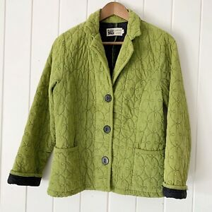 Habitat Jacket Small Green Quilted Corduroy Embroidered