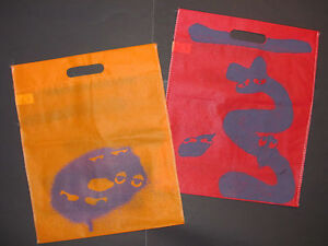 Lot-of-2-Urban-Outfitters-Shopping-Tote-Bag-Red-Orange-Halloween-Monster-Eco