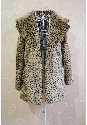 New yellow Woman Faux Fur Leopard Warm Winter Outwear Coat Jacket Tops Wrap wild