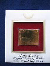 2003 Arctic Tundra Vole, Birch, Wolf Spider 22kt Gold Golden Cover replica STAMP