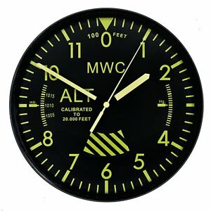 MWC-Aircraft-Altimeter-Military-Wall-Clock-9-034-22-5cm-with-Silent-Sweep-Movement