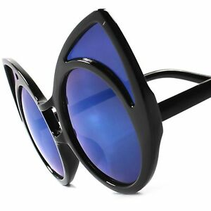 6708e3bc2 Blue Mirror Lens Vintage Retro Party Funny Funky Oversized Cat Eye ...