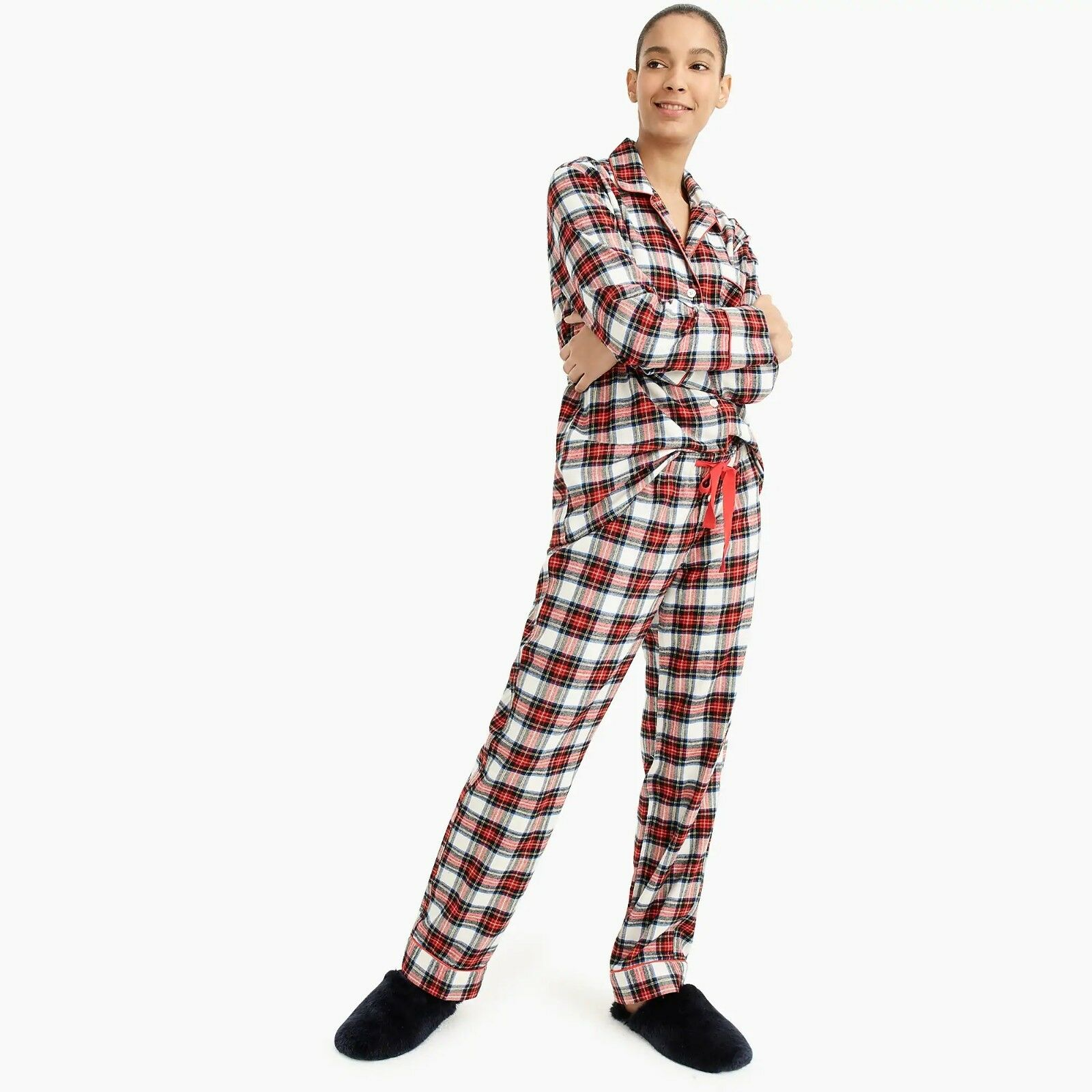 New J. Crew Women's Flannel Pajama Set in White-Out Plaid - Size Medium
