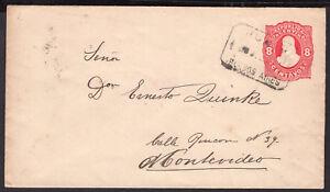 2575-ARGENTINA-TO-URUGUAY-PS-STATIONERY-ENVELOPE-1887-JUNIN-MONTEVIDEO