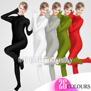 Unisex-Lycra-Spandex-Unitard-Mock-Turtleneck-Long-Sleeves-Full-Fingers-Full-Foot