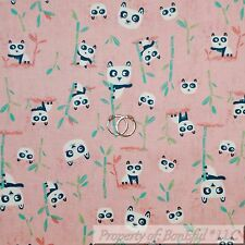 BonEful Fabric FQ Cotton Quilt Pink Black White B&W Panda Bear Bamboo Leaf Green