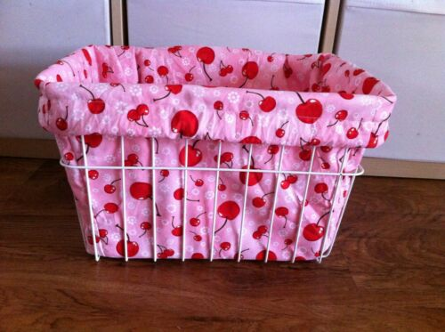 Bicycle Basket Liner Pink with Red Cherries Cruiser Bikes