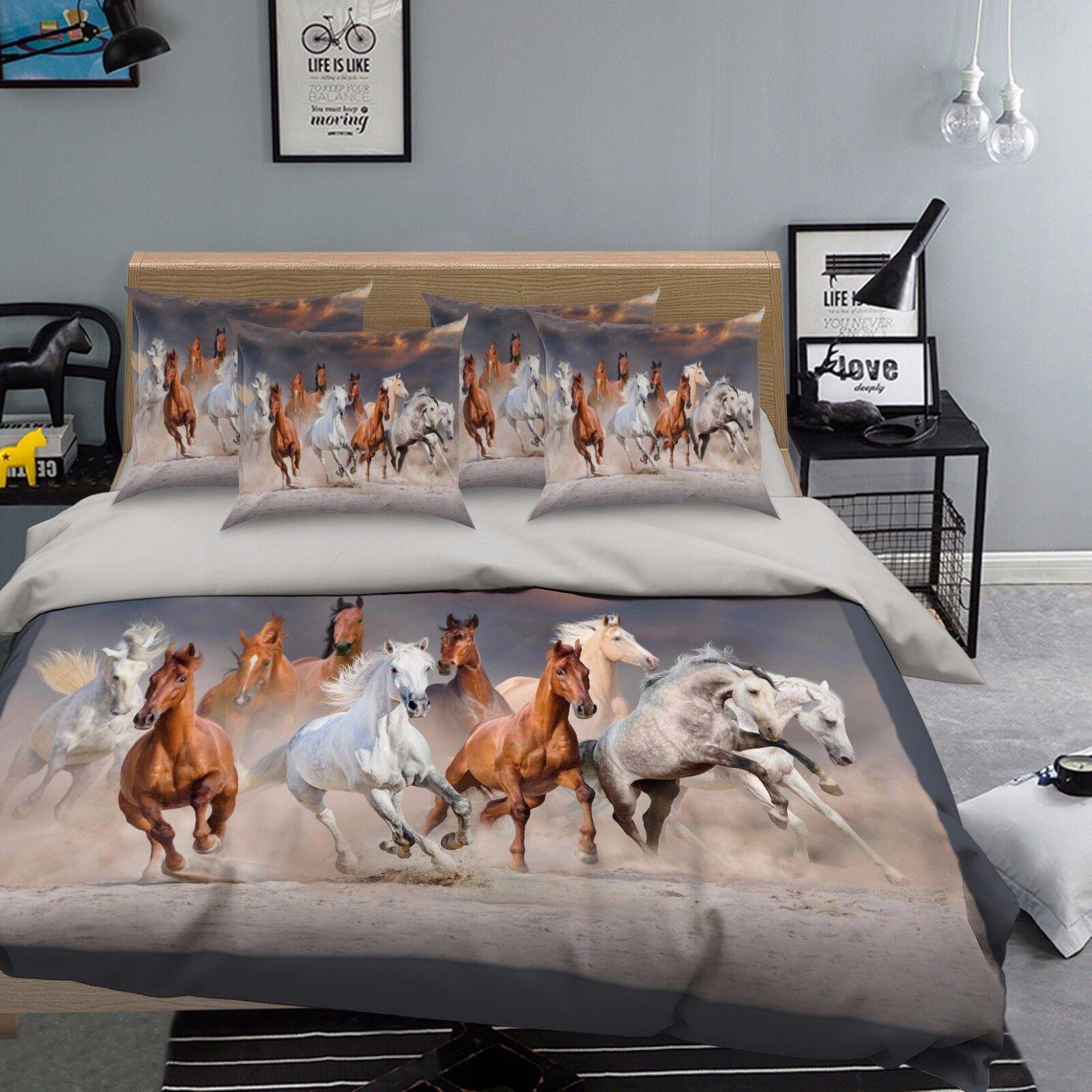 3D Pferd Tier 659 Bett Kissenbezüge steppen Duvet Decken Set Single DE Sunmmer