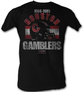 Houston-Gamblers-LOGO-USFL-1984-1985-Men-039-s-Tee-Shirt-Black-Sizes-S-5XL
