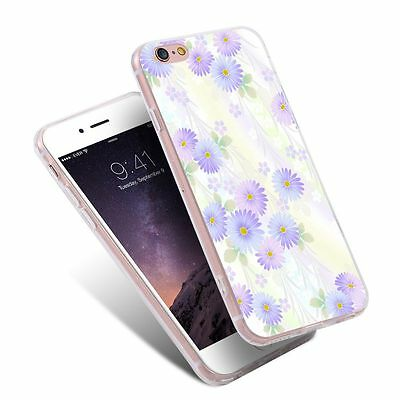 Blue Purple Gradient Flower Printed Pattern Phone Case for iPhone Samsung Huawei